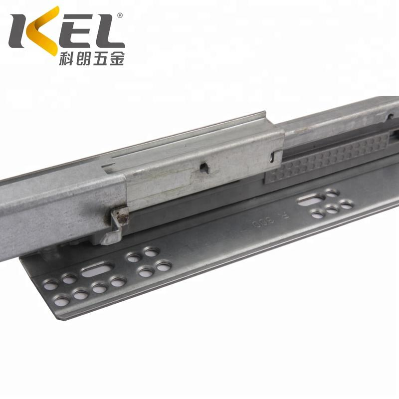 KEL 3-fold soft close heavy duty concealed telescopic kitchen cabinet drawer slide rail machinery